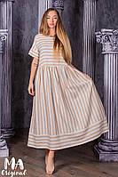 Летнее платье с принтом в полоску / лён / Украина 7-2-208, фото 1