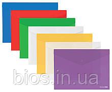 Папка-конверт В5 прозора на кнопці Economix, асорті