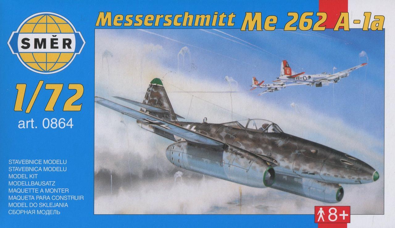 Модель немецкого военного самолета Messerschmitt Me 262 A-1a. 1/72 SMER 0864