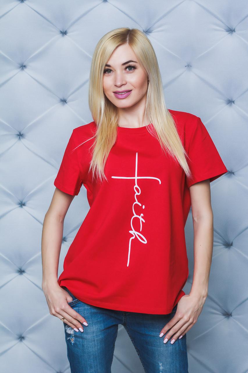 Женская футболка с печатью Faith красная