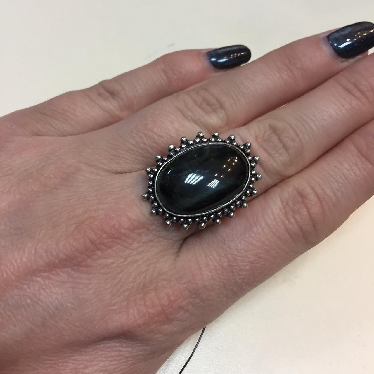 Соколиный глаз питерсит овальное кольцо с соколиным глазом и питерситом 16.5 размер Индия