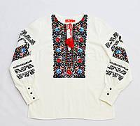 Детская белая льняная вышиванка для девочки с вышивкой Газдыня Piccolo L