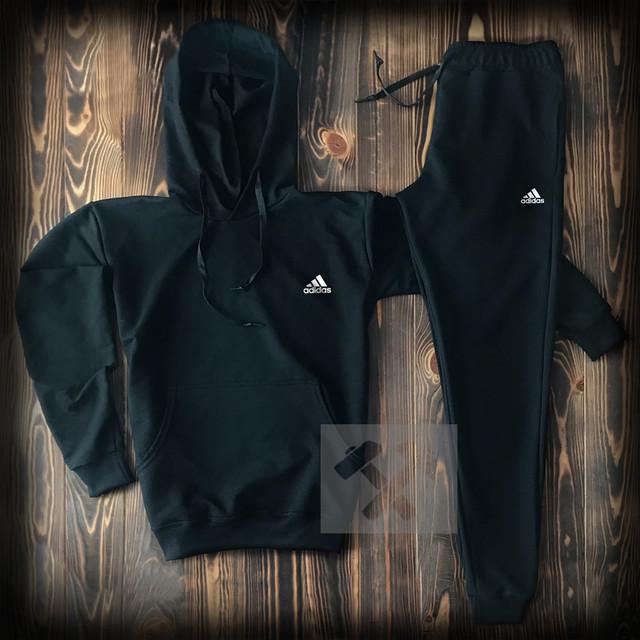 Темный мужской спортивный костюм с капюшоном Адидас