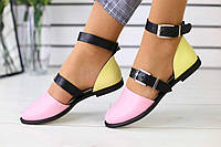 Женские босоножки кожаные стильные яркие молодежные удобные на низком ходу разноцветные (розовые), фото 1