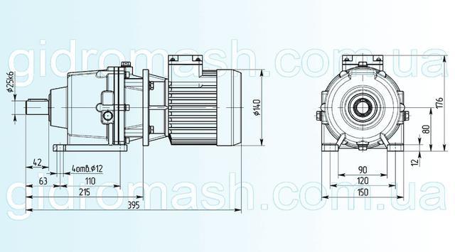 Размеры трехступенчатого мотор-редуктора 3МП-25 исполнение на лапах