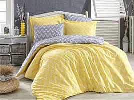 "Постельное белье поплин Hobby Home желтое (евро-размер) ""Nazende yellow"""