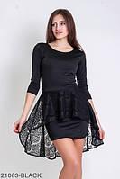 Нарядное платье-футляр c асимметричной баской из гипюра Marena
