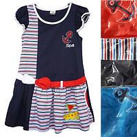Детское платьедля девочкиот 6до 10лет тёмно синего цвета в полоску с якорем