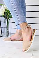 Босоножки женские трендовые летние стильные с открытым носком (бежевые), фото 1