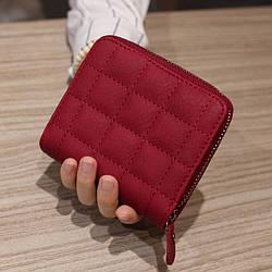Женский дизайнерский кошелек из экокожи, на молнии Красный