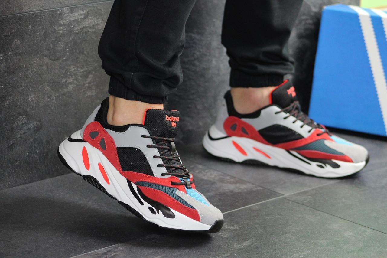 Кроссовки мужские Adidas Balance Life, серые с красным / чоловічі кросівки Адидас (Топ реплика ААА+)