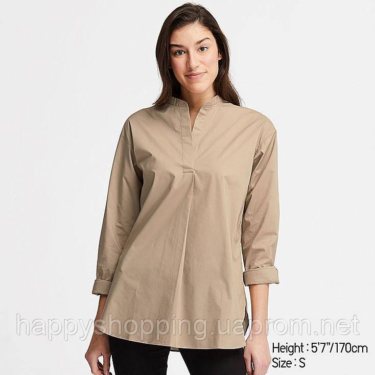 Женская стильная хлопковая бежевая рубашка Uniqlo