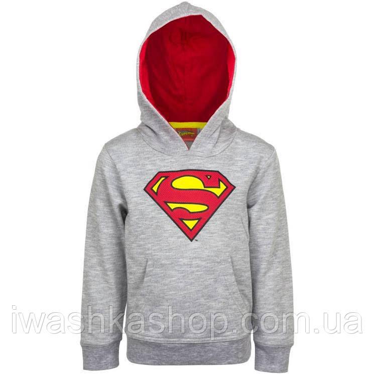 Стильная серая худи с принтом Супермена на мальчика 4 лет, р. 104, Sun City / Superman