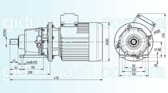 Размеры одноступенчатого мотор-редуктора 3МП-25 исполнение на лапах