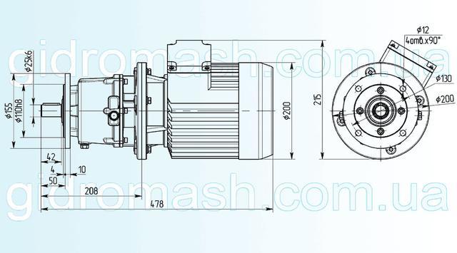 Размеры одноступенчатого мотор-редуктора 3МП-25 исполнение на фланце