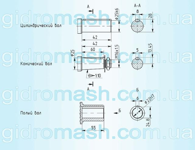 Размеры валов мотор-редуктора 3МП-25