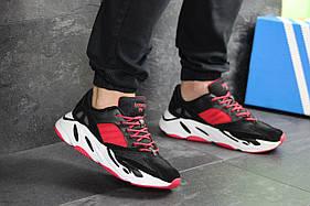 Кроссовки мужские Adidas Balance Life, черные с красным / чоловічі кросівки Адидас (Топ реплика ААА+)