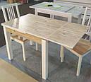 Стол обеденный Марсель 110(+35+35)*75  белый - Нордик Пайн, фото 5