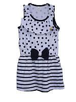Детский сарафан в горошек для девочки от 1 года до 10 лет белый с тёмно синей полоской
