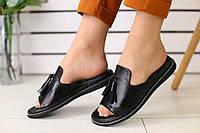 Шлепанцы женские кожаные легкие повседневные в черном цвете, ТОП-реплика, фото 1