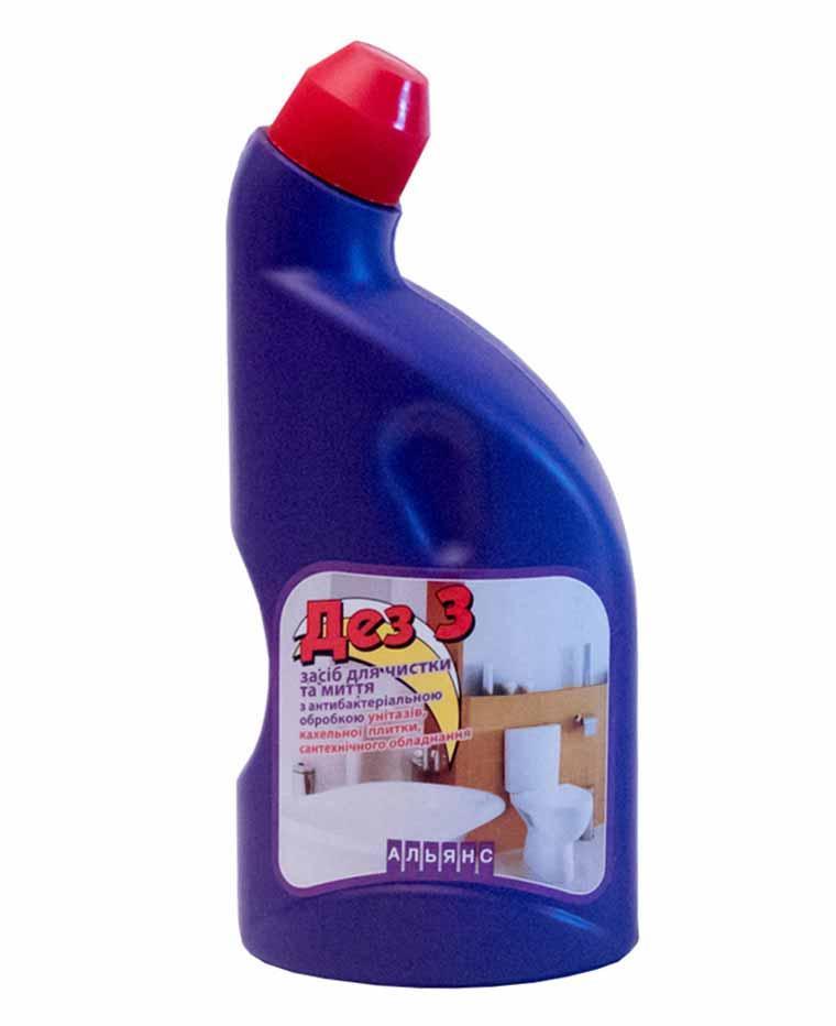 Засіб Дез-3 для миття туалету з антибактеріальним ефектом, 500 мл, Дез