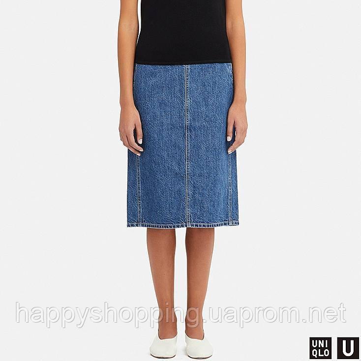 Женская джинсовая миди юбка Uniqlo