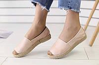 Экпадрильи женские кожаные топовые удобные практичные с открытом носком на широкую ногу (бежевые), фото 1