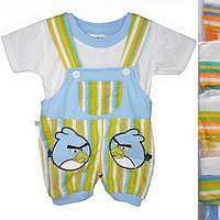 """Песочник детский с футболкойот 6 мес до 18 мес """"Angry Birds"""" голубой с желтым"""