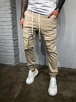 Стильные мужские джинсы бежевые с карманами, фото 1
