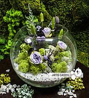 Большой флорариум со стабилизированными розами «Summer green»