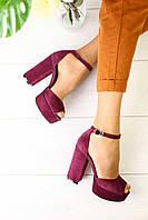 Женские босоножки замша яркие модные на высоком каблуке в бордовом цвете