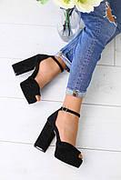 Замшевые босоножки женские летние на высоком каблуке с открытым носком (черные)