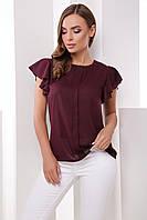 Нарядная тонкая свободная блузка с рукавами-воланчиком и планкой по центру, марсала