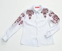Детская белая хлопковая блузка для девочки с красной вышивкой Piccolo L