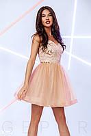 Короткое вечернее платье с воздушной юбкой бежевого цвета