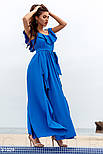 Летнее платье-макси с воланом синего цвета, фото 2