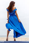 Летнее платье-макси с воланом синего цвета, фото 3