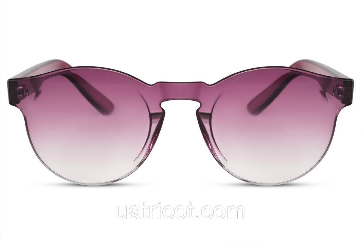 Женские солнцезащитные безоправные круглые очки с розовыми линзами