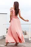 Довге плаття на запах з глибоким розрізом на спідниці персикове, фото 3