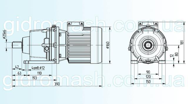 Размеры двухступенчатого мотор-редуктора 3МП-25 исполнение на лапах