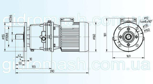 Размеры двухступенчатого мотор-редуктора 3МП-25 исполнение на фланце