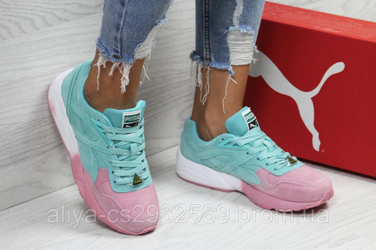 Женские кроссовки мятные с розовым Puma Trinomic РП-6301
