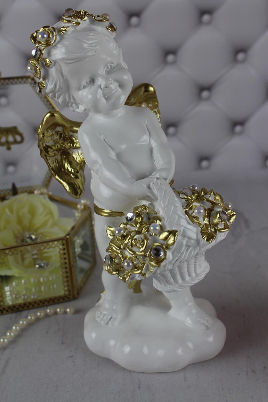 """Ангел """"С корзиной внизу"""", белый с золотом"""