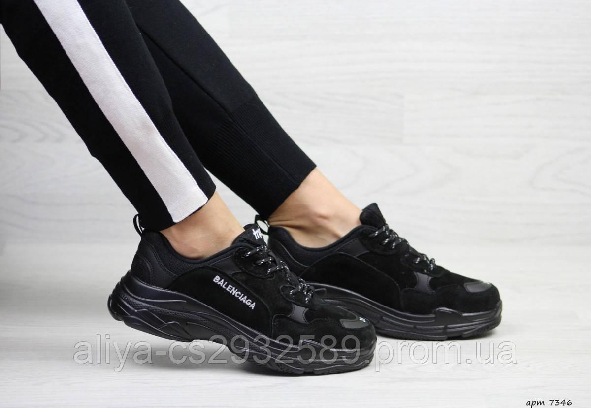 Женские кроссовки черные Balenciaga 7346