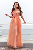 Длинное платье в пол с цветочной аппликацией персиковое