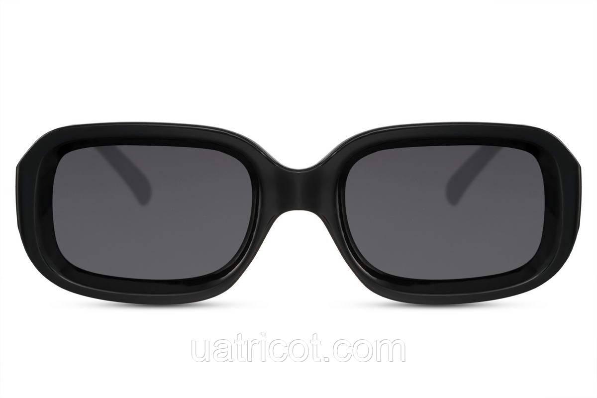 Женские солнцезащитные прямоугольные очки с черными линзами