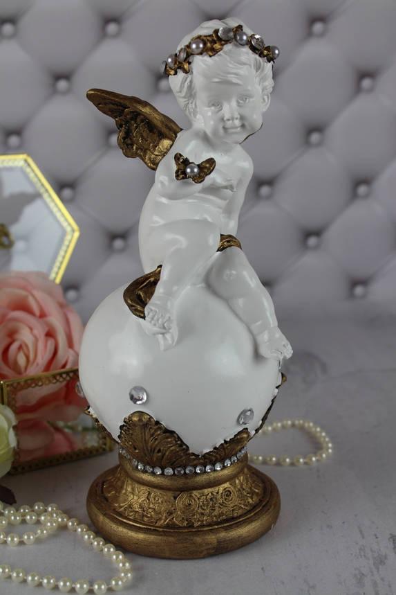 Ангел На шаре с бабочкой, золото, фото 2