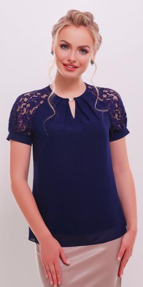 Синяя шифоновая блуза Ильва к/р с короткими рукавами из гипюра