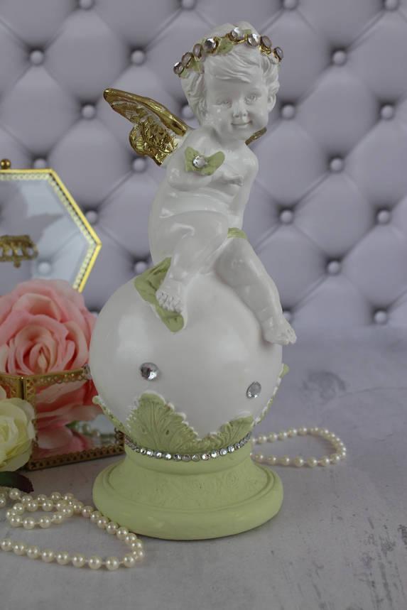 "Ангел ""На шаре с бабочкой"", грин голд, фото 2"