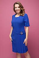 Женское платье большого размера в деловом стиле до колен синего цвета Давина